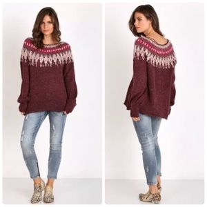 NWT - FP Baltic Fair Isle Slouchy Sweater in Berry